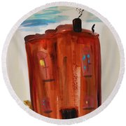 Round Beach Towel featuring the painting Harlem Townhouse by Mary Carol Williams