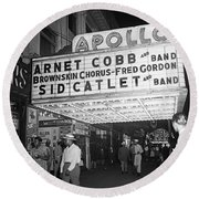 Harlem's Apollo Theater Round Beach Towel by Underwood Archives Gottlieb