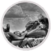 Harley Black And White Round Beach Towel