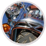 Round Beach Towel featuring the photograph Harley Close Up by Shoal Hollingsworth