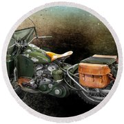 Harley Davidson 1942 Experimental Army Round Beach Towel by Barbara McMahon