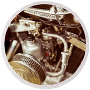 Round Beach Towel featuring the photograph Harley Davidson Closeup by Carsten Reisinger