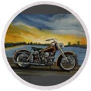 Harley Davidson Duo Glide Round Beach Towel