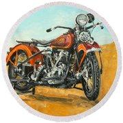 Harley Davidson Knucklehead Round Beach Towel