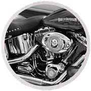 Harley Davidson Monochrome Round Beach Towel