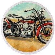 Harley Davidson Panhead Round Beach Towel