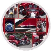 Harley Davidson Ultra Classic Trike Round Beach Towel