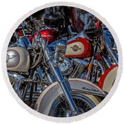 Round Beach Towel featuring the photograph Harley Pair by Eleanor Abramson