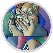 Round Beach Towel featuring the painting Harmonia Man by Anthony Falbo