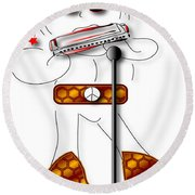 Round Beach Towel featuring the digital art Harmonica Player by Marvin Blaine