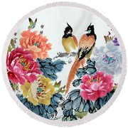 Round Beach Towel featuring the painting Harmony And Lasting Spring by Yufeng Wang