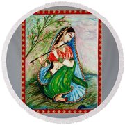 Round Beach Towel featuring the painting Harmony by Harsh Malik