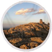 Harney Peak At Dusk Round Beach Towel
