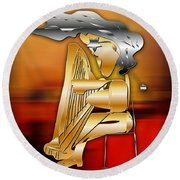 Round Beach Towel featuring the digital art Harp Player by Marvin Blaine