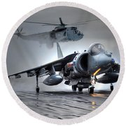 Harrier Gr9 Takes Off From Hms Ark Royal For The Very Last Time Round Beach Towel by Paul Fearn