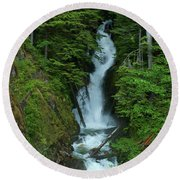 Round Beach Towel featuring the photograph Harrison Lake Road Falls by Rod Wiens