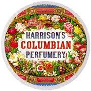 Harrison's Columbian Perfumery 1854 Round Beach Towel by Padre Art