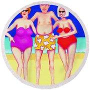 Funny Beach Women Man  Round Beach Towel