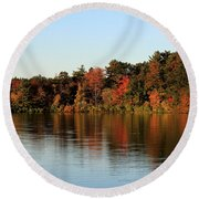 Hart Pond Golden Hour Round Beach Towel by Kenny Glotfelty