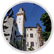 Round Beach Towel featuring the photograph Hartenfels Castle - Torgau Germany by Mark Madere