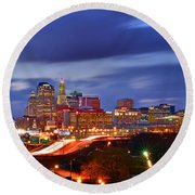 Hartford Skyline At Night Round Beach Towel