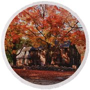 Hartwell Tavern Under Canopy Of Fall Foliage Round Beach Towel by Jeff Folger