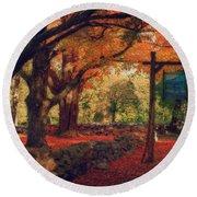 Hartwell Tavern Under Orange Fall Foliage Round Beach Towel by Jeff Folger