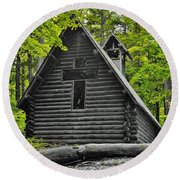 Hartwick Pines Chapel Bwg Round Beach Towel by Daniel Thompson
