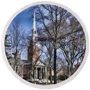 Harvard University Old Yard Church Round Beach Towel