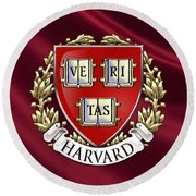 Harvard University Seal - Coat Of Arms Over Colours Round Beach Towel by Serge Averbukh