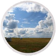 Round Beach Towel featuring the photograph Harvest Blue  by Neal Eslinger