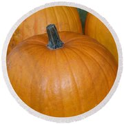 Round Beach Towel featuring the photograph Harvest Pumpkins by Chalet Roome-Rigdon