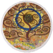 Round Beach Towel featuring the tapestry - textile Harvest Swirl Tree by Kim Prowse