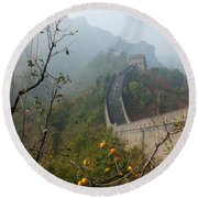 Harvest Time At The Great Wall Of China Round Beach Towel