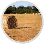 Round Beach Towel featuring the photograph Harvest Time by Gordon Elwell