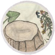 Round Beach Towel featuring the painting Harvested Beauty by Kim Pate