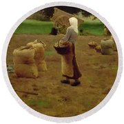 Harvesting Potatoes Oil On Canvas Round Beach Towel