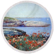 Hassam's Poppies On The Isles Of Shoals Round Beach Towel by Cora Wandel