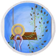 Hat On A Swing Round Beach Towel by Ron Davidson