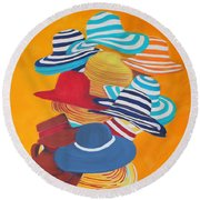 Round Beach Towel featuring the painting Hats Off by Deborah Boyd