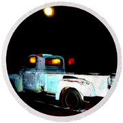 Round Beach Towel featuring the digital art Haunted Truck by Cathy Anderson