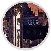 Round Beach Towel featuring the photograph Hausmann Tower In Dresden Germany by Jordan Blackstone