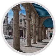 Havana Cathedral And Porches. Cuba Round Beach Towel