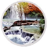 Havasau Falls Painting Round Beach Towel by Bob and Nadine Johnston