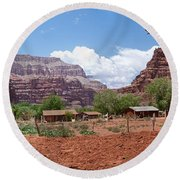 Round Beach Towel featuring the photograph Havasupai Village Panorama by Alan Socolik