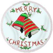 Merry Christmas Round Beach Towel