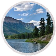 Round Beach Towel featuring the photograph Haviland Lake by Janice Rae Pariza