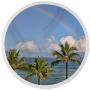 Hawaii Rainbow Round Beach Towel by Peggy Collins