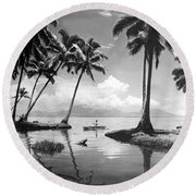 Hawaii Tropical Scene Round Beach Towel by Underwood Archives