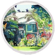 Round Beach Towel featuring the painting Hawaiian Cottage 3 by Marionette Taboniar